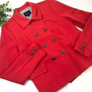 Lands End Red Blazer Nautical Buttons Lined Sz 12
